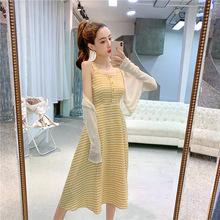 吊帶格子連衣裙子2019新款智熏法式仙女超仙森系甜美收腰顯瘦氣質