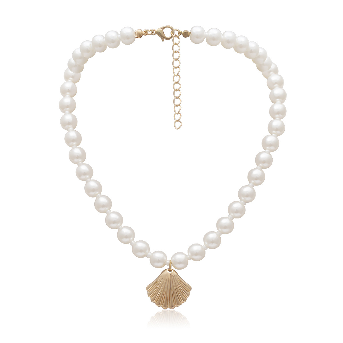 Womens geometric  round  shell  scallop plating alloy Necklaces NHXR141775