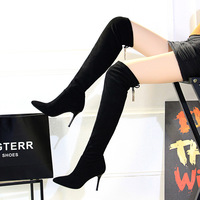 83201 European and American fashion simple thin heel high heel pointed Suede Boots sexy thin banquet knee high boots