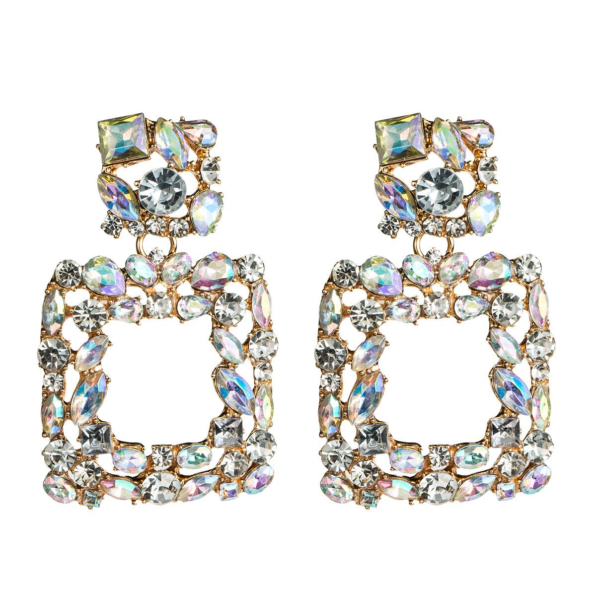 Fashion Women Rhinestone Square Earrings NHJE133746