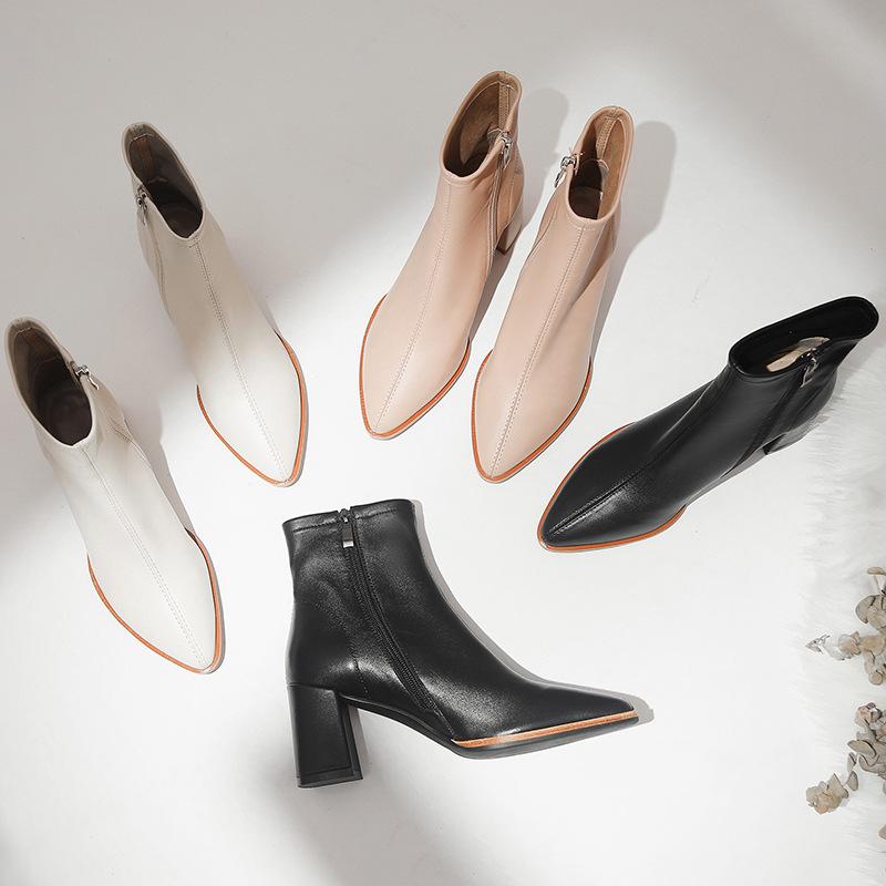 短筒靴女秋冬新款侧拉链高跟真皮设计女王复古韩版显瘦舒适尖头鞋