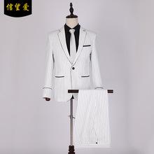 2019黑白条纹西装夏季休闲西服男商务帅气外套青年男士西装套装