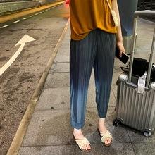 阔腿裤女九分夏季高腰黑色薄款百搭褶皱休闲坠垂?#24515;?#22902;裤