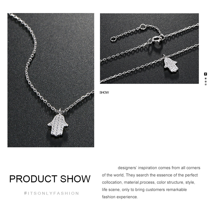 Fashion 925 silver necklace micro-inlaid zircon pendant women's simple clavicle chain wholesale nihaojewelry  NHTF239410