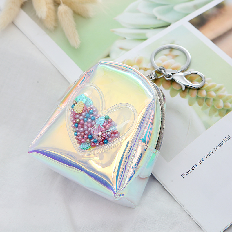 Hot selling laser love coin purse ladies mini creative backpack zipper coin purse wholesale NHAE247618