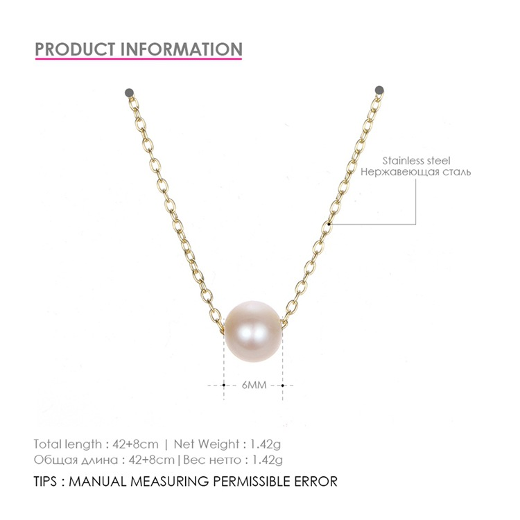 Simple pearl necklace female stainless steel gold-plated clavicle chain necklace 316L jewelry NHTF175314