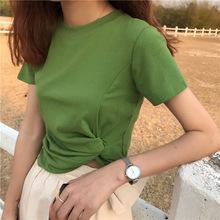 2019夏季新款短款T恤女短袖圓領純色打底衫打結露肚臍小心機上衣