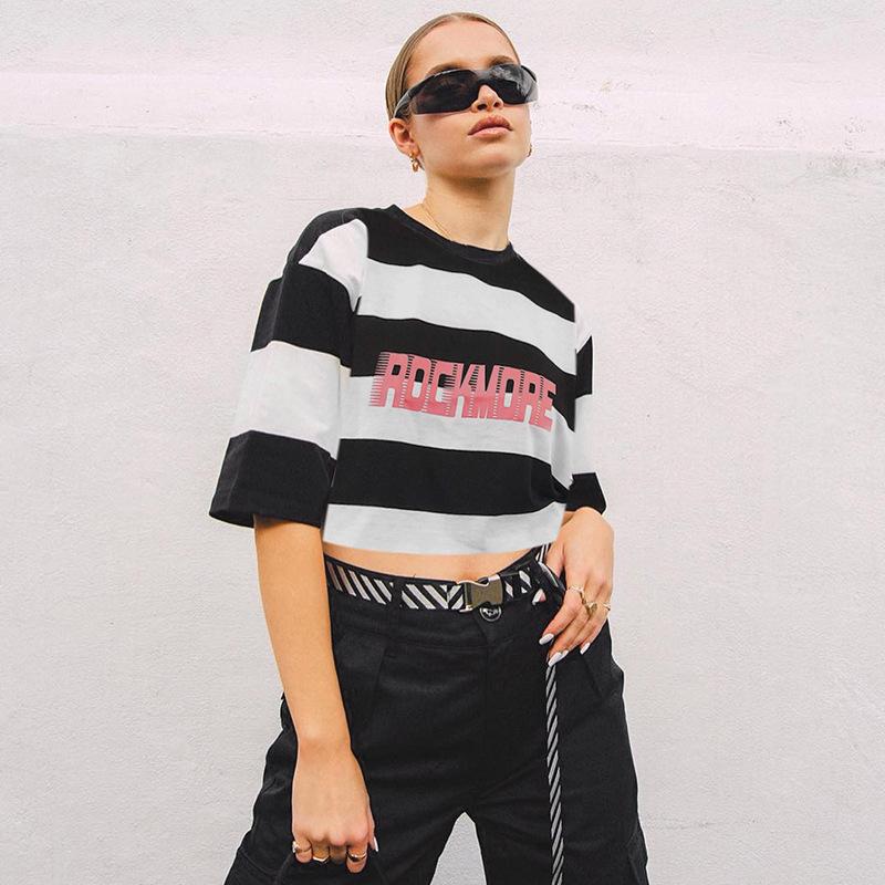 欧美风2019亚马逊爆款女装街头嘻哈粗条纹印花宽松露脐T恤上衣女