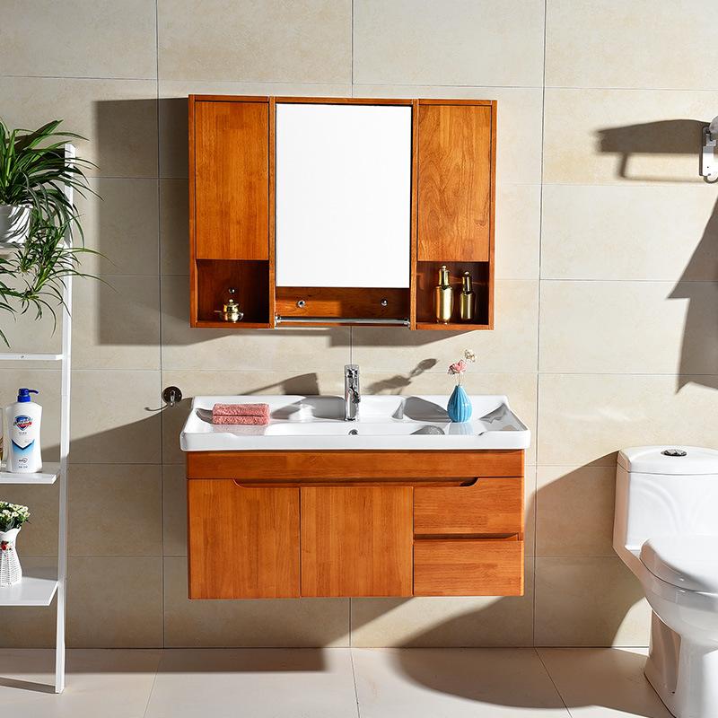 橡木浴室柜组合实木卫浴柜卫生间洗漱台洗手盆洗脸盆柜池现代简约
