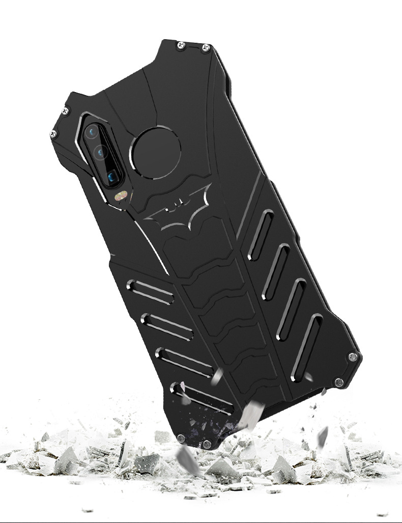 R-Just Batman Shockproof Aluminum Shell Metal Case with Custom Batarang Stent for Huawei P30 Pro & Huawei P30 & Huawei P30 Lite & Huawei nova 4e
