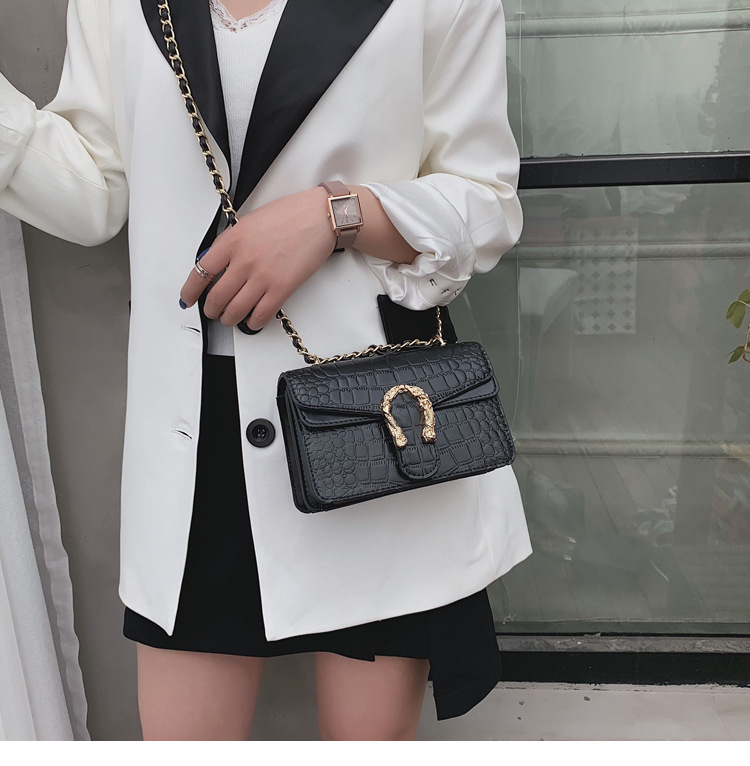 Western style texture stone pattern fashion chain shoulder slung small square bag NHLD170556