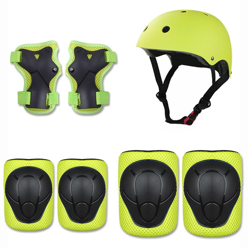 批发儿童平衡车滑板车骑行护具头盔护具套装儿童轮滑护具7件套