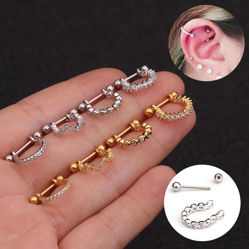 Stainless steel earrings microinlaid earrings zircon soft ear bone nails human body  NHEN253459