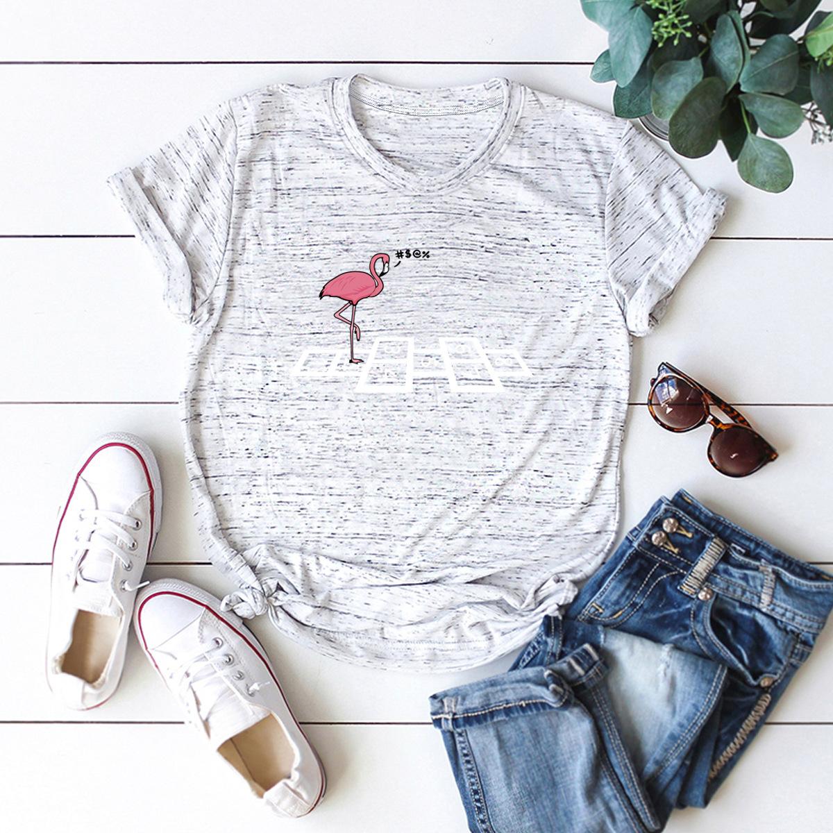 New cute nostalgic red-crowned crane cotton short-sleeved women's T-shirt NHSN206421