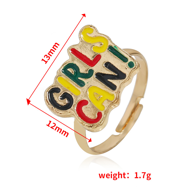 European and American simple letter alloy ring NHKQ152294