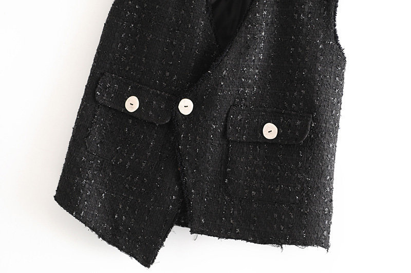 Wholesale Autumn Irregular Tweed Small Fragrance Vest Jacket NHAM186194