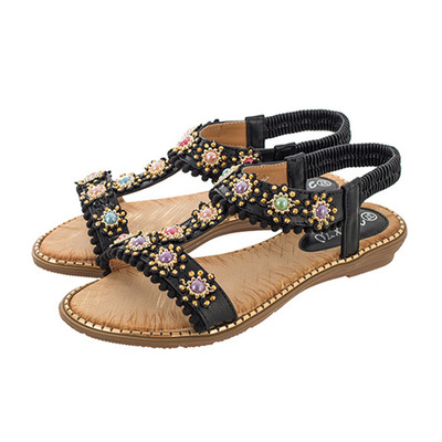 Bohemian women sandals round head color diamond flat sandals large size sandals