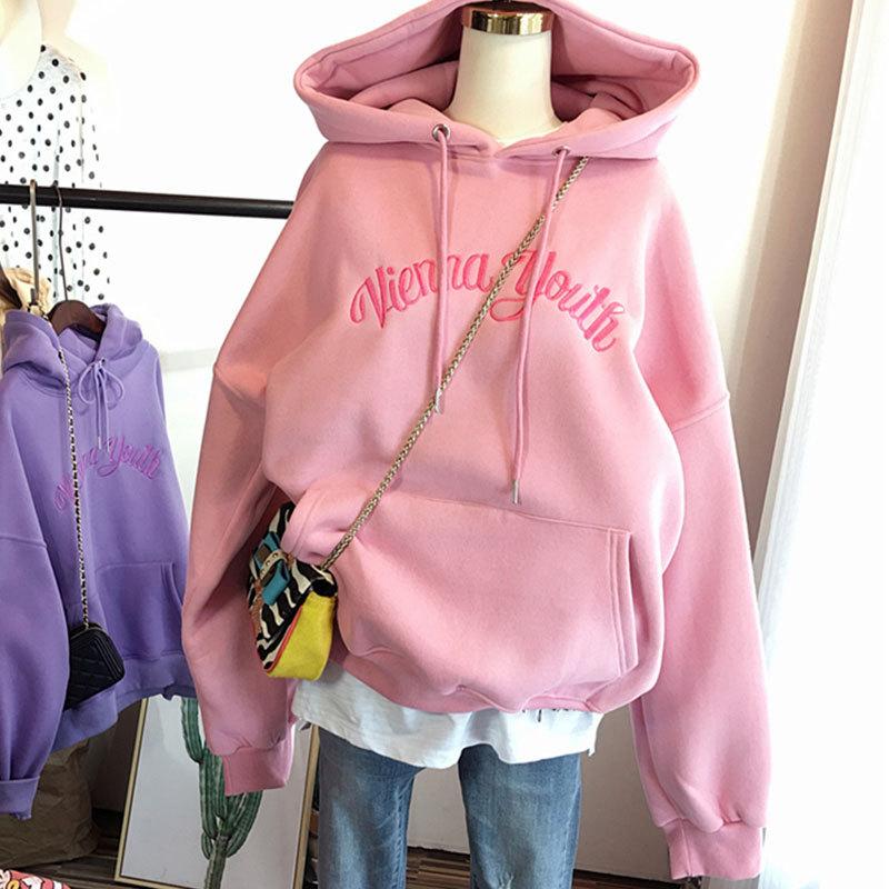加绒卫衣女新款韩版冬款刺绣字母保暖卫衣女学生连帽卫衣女装