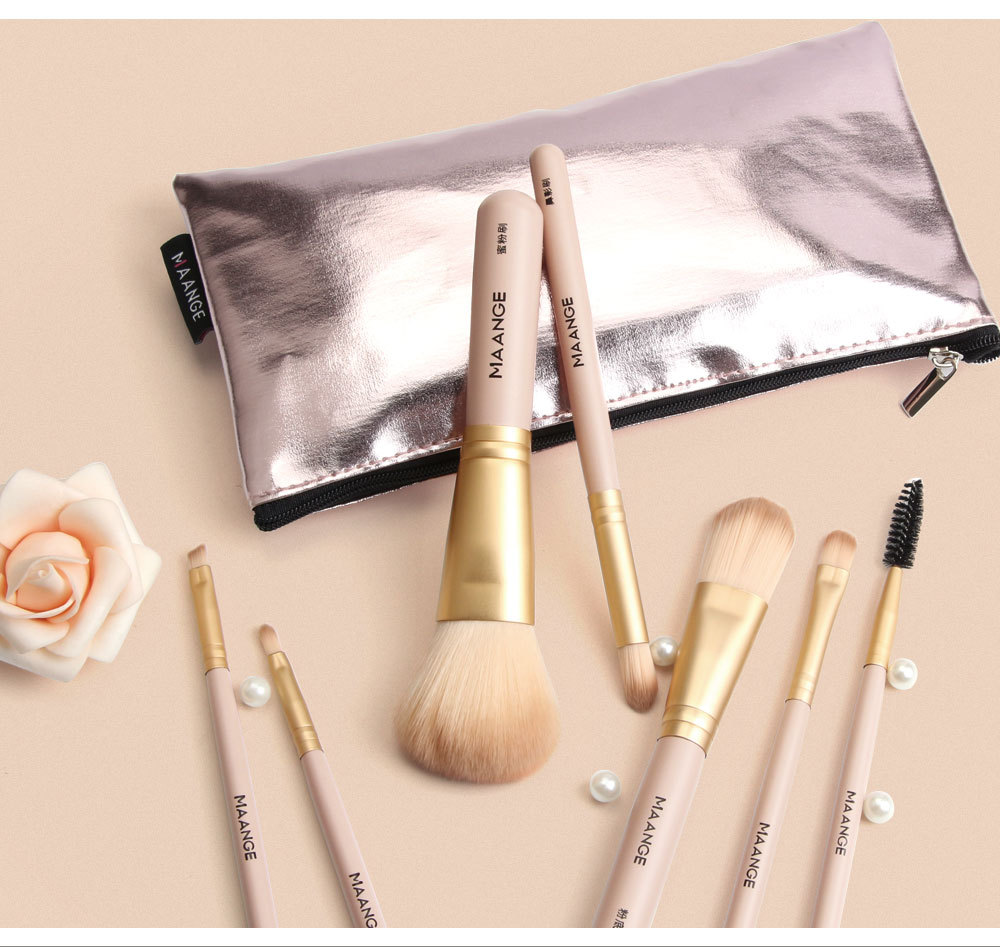 Pics wooden handle nylon makeup brushes makeup bags NHDJ170321
