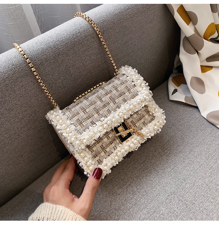 Fashion beads one shoulder small square bag NHPB133589