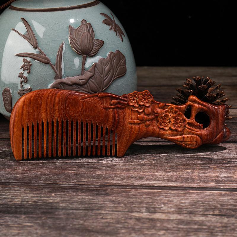 跨境手工雕花檀木梳子天然防靜電檀木梳創意禮品物按摩梳一件代發