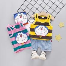 2019夏季新款韩版卡通猫背心童装两件套儿童无袖可爱童套装批发