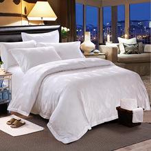 宾馆酒店布草 酒店床上用品四件套 纯棉白色提花床单被套批发