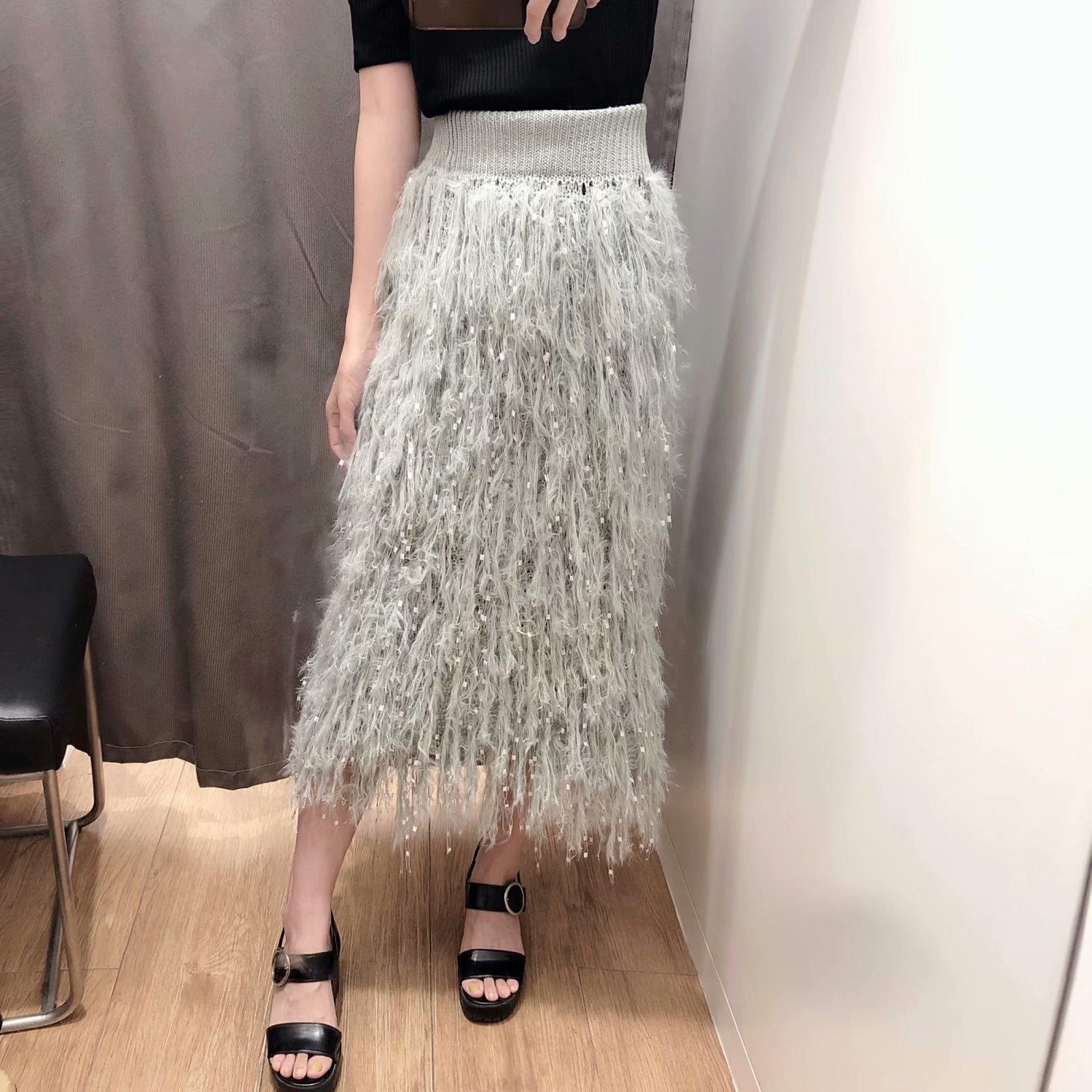 Fashion autumn feather tassel knit skirt NHAM154844