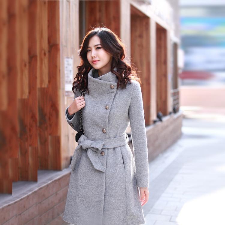 Women's Mid-length Single-breasted Belt Woolen Trench Coat