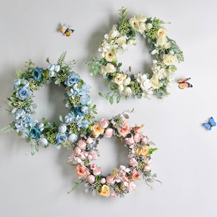 Wholesale Nordic wall hanging simulation garland rose flower home decoration wedding wedding wall jewelry factory direct sales