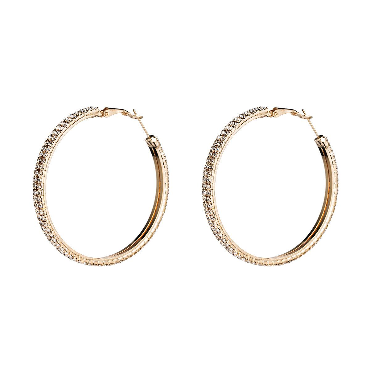 Alloy diamond large circle hoop earrings NHJE155618