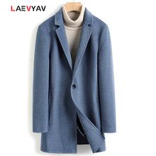 秋冬新款手工双面呢羊毛大衣男中长款西服领茧型毛呢大衣男式外套
