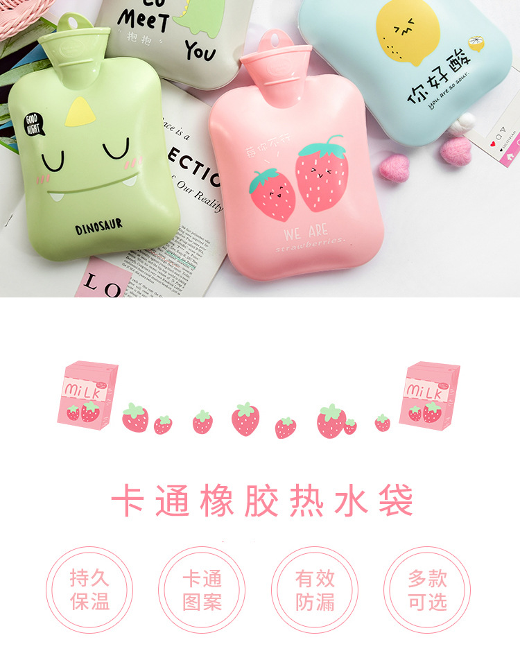 Cartoon rubber hot water bottle water warm water bag large cute portable with 900ml NHHE172502