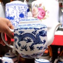 景德鎮瓷器茶壺陶瓷大容量涼水壺大號青花瓷冷水壺提梁泡茶壺家用