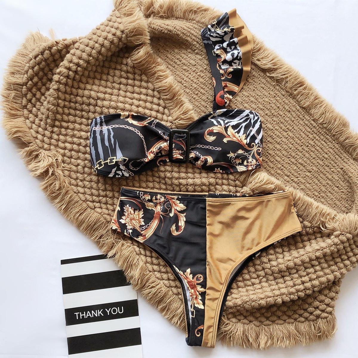 new swimsuit ruffled one-shoulder sexy printed bikini NSDA2189