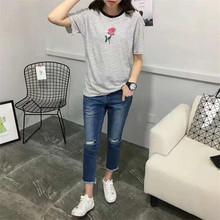 【泰蜜兒】夏季新款韓版大碼短袖棉質印花玫瑰條紋印花T恤女批發