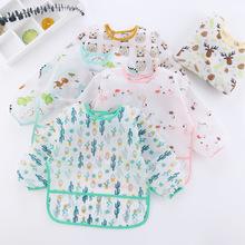 一体式2码 防水反穿衣宝宝婴儿吃饭罩衣围兜护衣儿童围裙饭兜秋冬