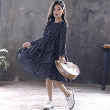 2019新款春秋款童装裙子韩版波点长裙时尚中大女童连衣裙蛋糕裙