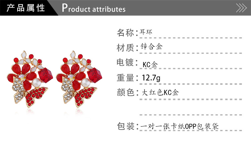 Alloy Fashion Flowers earring  (Pink KC Alloy)  Fashion Jewelry NHKQ2330-Pink-KC-Alloy