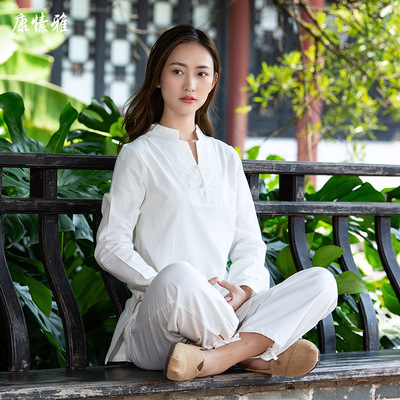 Tai chi kung fu uniforms for women fitness suit sports cotton and Hemp Yoga suit female Buddhist meditation dress long sleeve cover for women