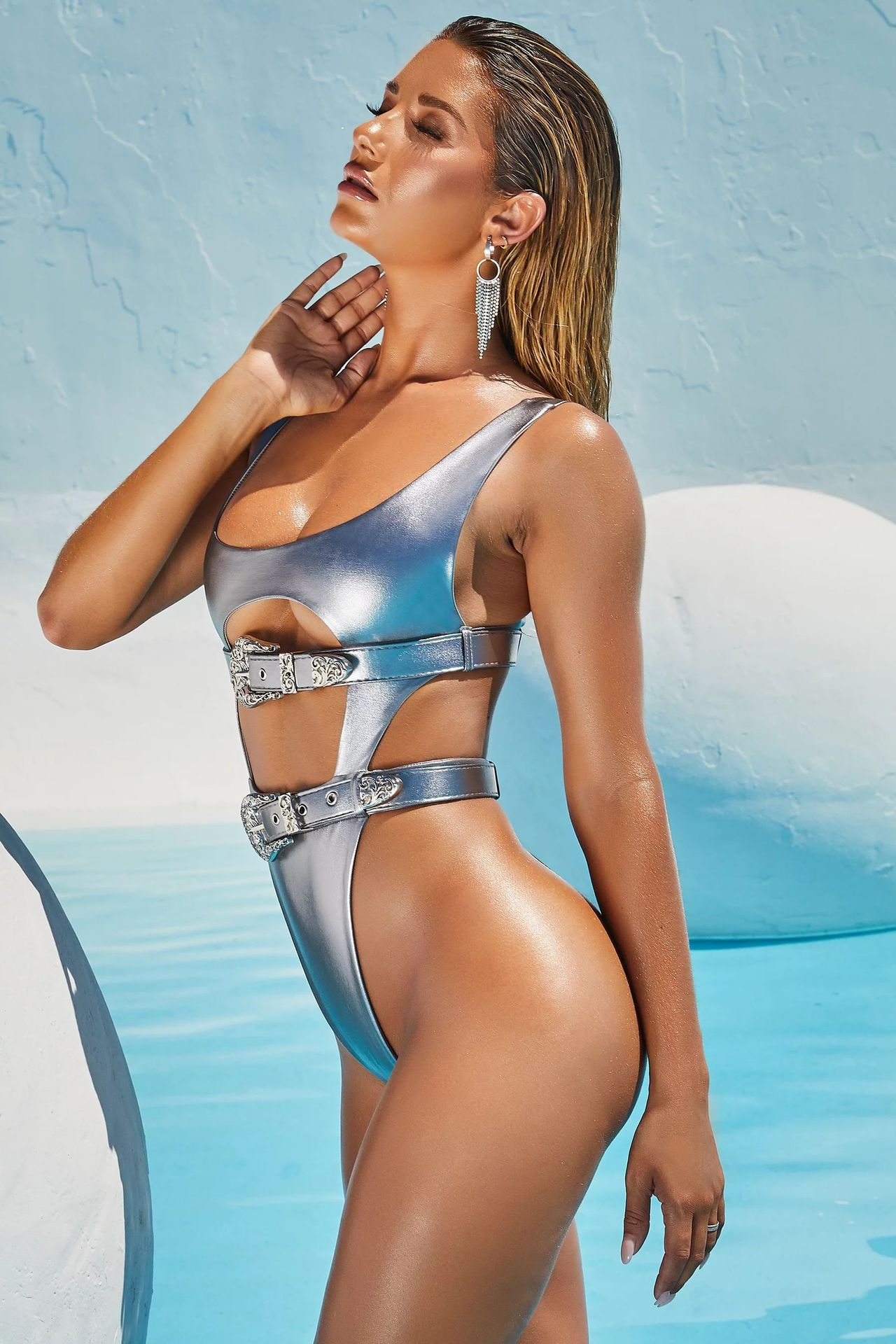 Ladies Double Belt Bronzing Leather Swimsuit Sexy Solid Color One-Piece Bikini NSZO1356