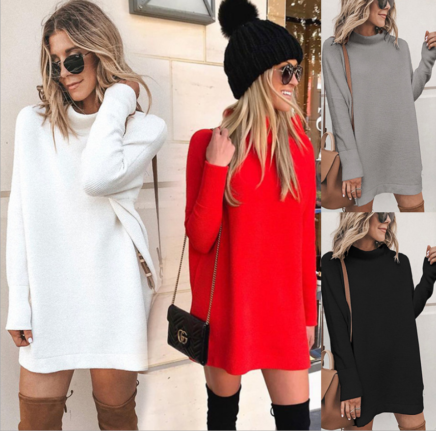 solid color fashion long-sleeved round neck midi dress NSYD3781