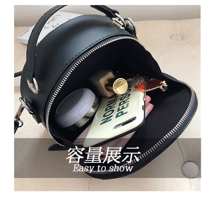 Stitching small round bag handbag women simple casual fashion frosted shoulder messenger bag NHPB187160