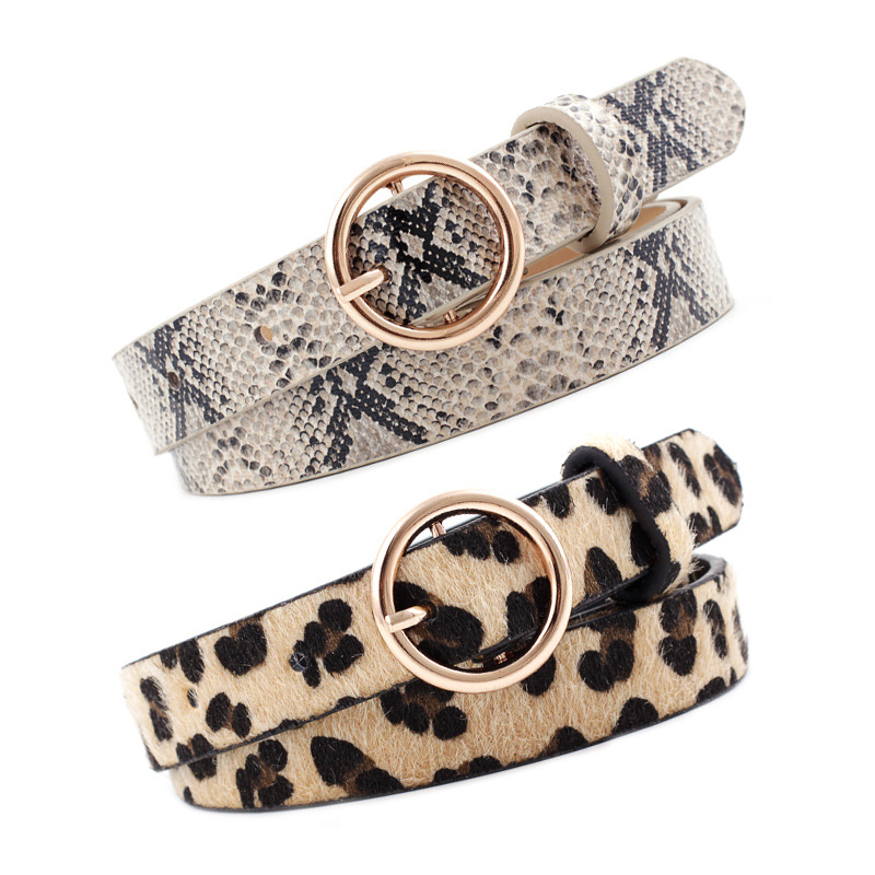 Women's Decorative Jeans Belt Fashion Round Buckle Leopard Print Brindle Snake Print Slim Fit Belt