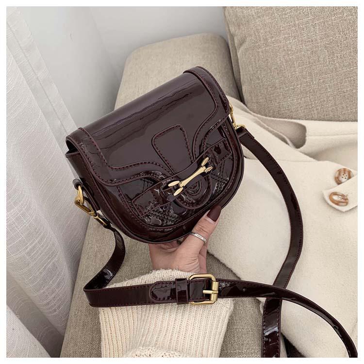 Retro fashion lacquered saddle bag new simple wild rhombus wide shoulder single shoulder messenger bag NHPB196960