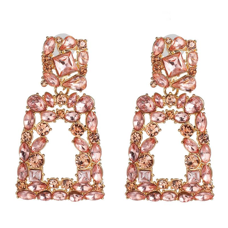 New geometric color diamond-studded hollow earrings NHJJ149817