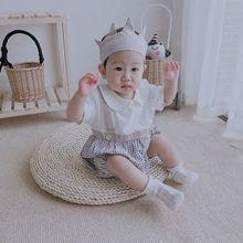 婴儿连体衣夏天爬爬服韩国代购男女宝宝衣服短袖哈衣假两件包屁衣