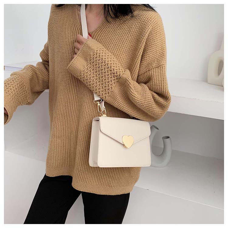 New retro fashion heart-shaped lock buckle small square bag simple casual shoulder diagonal package NHPB178618