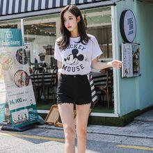 韩国Lets diet魔术短裤女高弹休闲裤夏2019新款高腰运动黑白破洞