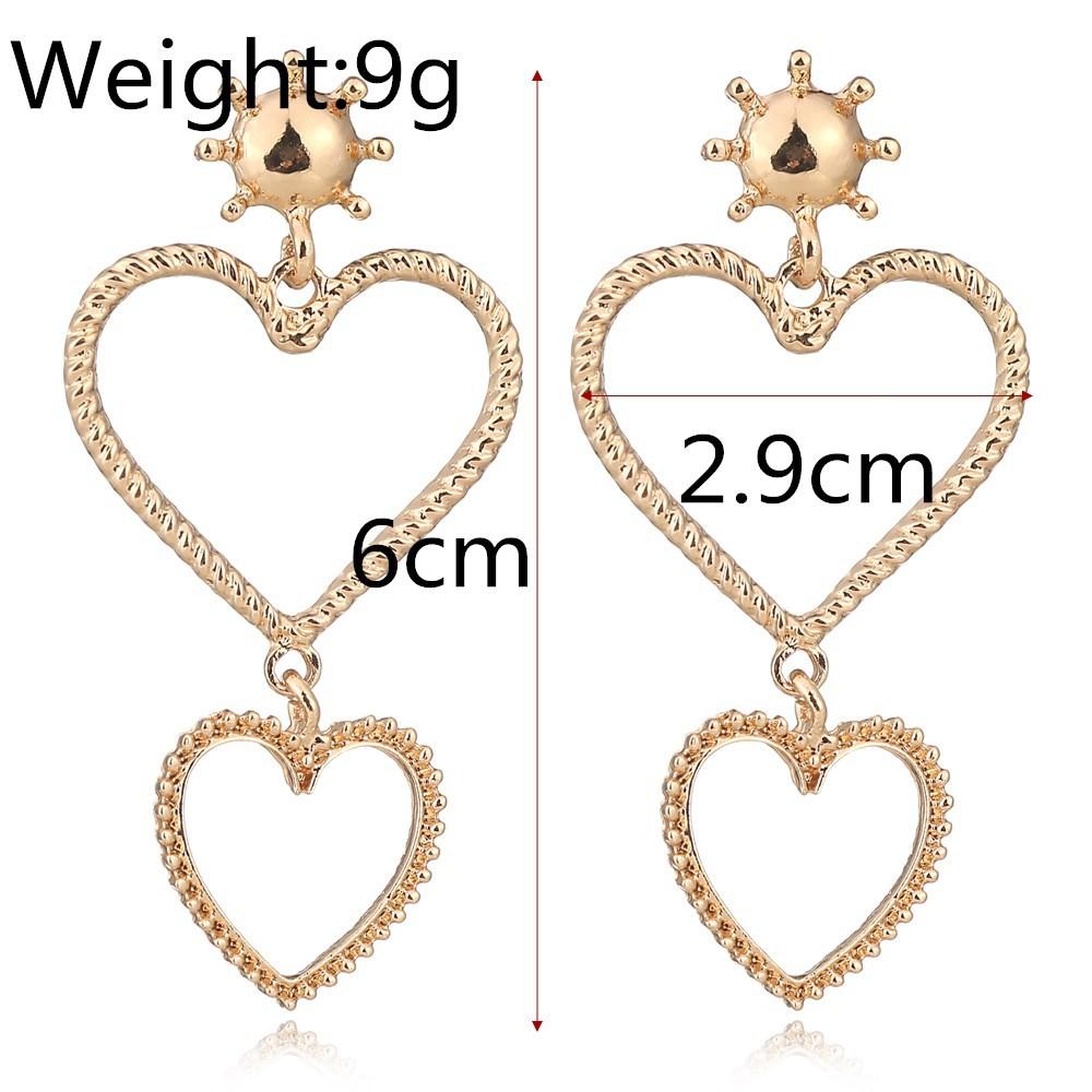 exaggerated diamond love earrings Korea long peach heart trend earrings wholesale nihaojewelry NHXI230973